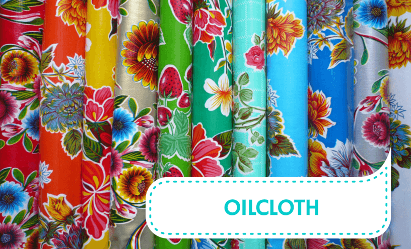 Rolls of colorful fabric which are made from OilCloth